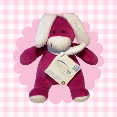 Peluche made in France Lapin Seigneur fuschia